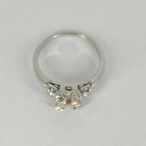Vintage Platinum Mounting w/ Side Diamonds Takes 6.5 MM Stone Size 8