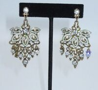 Chandelier Dangle Earrings Genuine AB Rhinestone Crystal Pearl Gold Tone SHINY