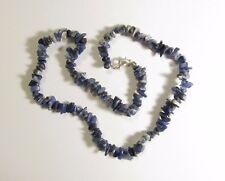 "Genuine Sodalite Chip Gemstones Necklace 19"" Sterling Lobster Clasp       SODN38"