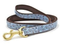 "Up Country Curly-Q Dog Leash 6 'L x 1 ""W, Made in USA, Blue, Brown"