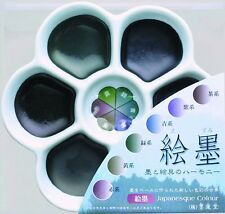 NEW Boku-Undo Solid Sumi Ink 6 Color Set Painting Gansai Plum blossom dish