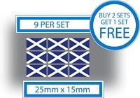 9 x Scottish Flags Small Bike Helmet Car Window Vinyl Stickers Decals Scotland
