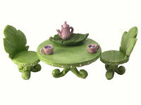 Miniature Fairy Garden Furniture set:  Leaf Bistro Set with Tea Set for Fairies