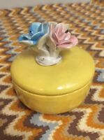 Vintage Yellow Capodimonte Jewelry Trinket Box With Flowers Lid Made in Italy