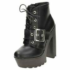 Chunky High Heel Platform Ankle Boots Lace Up Gothic Punk Zip Block Shoe Chelsea