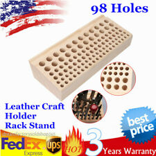 Leather Diy Craft Wood Tool Rack Wooden Stamps Stand Organizer 98 Holes Us Ship