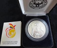1991 ARGENTO PROOF Papua Nuova Guinea 10 KINA MEDAGLIA BOX + COA 9th Giochi del Pacifico