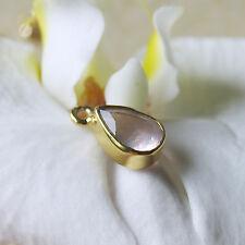 1 rosenquarz pear cut mit 925 silber vergoldet, als einhänger, verbinder