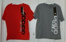(2)BOYS SZ 4 SHORT SLEEVE TEE SHHIRTS-1-RED, 1-GRAY by ADIDAS-NEW WITH TAGS