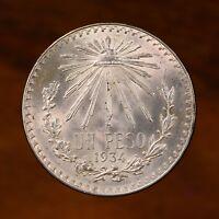 Raw 1934 Mexico 1P Mexican Silver Un Peso Coin
