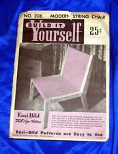 UNUSED VTG  EASI BILD DIY WOODWORKING CRAFT PATTERN 306 Modern String Chair