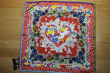 "NEW $275 CHRISTIAN LACROIX Flower Red 100% Silk Scarf 27""sq (70x70cm)"