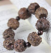 Handmade Eaglewood Carving Lotus Tibetan Buddhist Prayer Bead Mala Bracelet