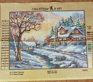 Collection D'art Winter Cottage Needlepoint Tapestry Canvas #10370