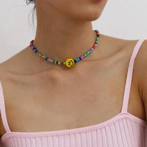 Smiley face smile emoji colourful rainbow beaded necklace choker bloggers UK