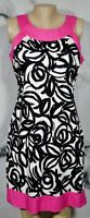 SIGNATURE BY ROBBIE Black White Patterned Sleeveless Dress 10 Solid Pink Trim