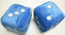"AUTOMOBILE - CAR FUZZY DICE PAIR WITH STRING 3"" CUBES BLUE"