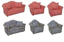 Dolls House 12th scale  Set of Striped Sofa & 2 Armchairs:  Choice of Colours