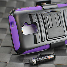 For ZTE Majesty Z796C Hybrid Rugged Holster Clip Case Cover Stand Purple +Stylus