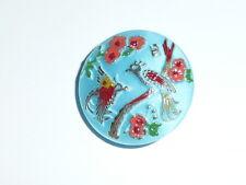 Wonderful Czech Glass Peacock Button Opaque Sky Blue 23mm Gold, Peach, Brown...