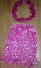 HOT PINK HAWAIIAN SKIRT/LEI FANCY DRESS OUTFIT HEN/STAG PARTY NEW E