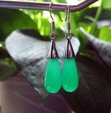 Beautiful silver Malay jade earrings