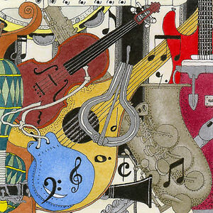 Limited Edition Art Print on Canvas 'MUSICAL INSTRUMENTS'Artist signed/numbered