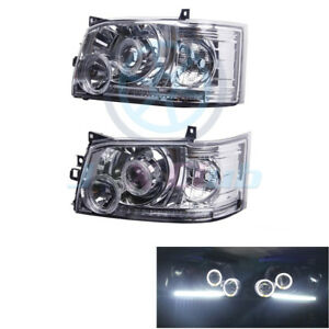 Clear Lens Crystal Angel Eye LED Headlight Lamp For Toyota Hiace 200 Van 2005-10