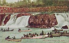 Vintage Salmon Fishing at Oregon City, Oregon Boats, Waterfall Tinted Postcard