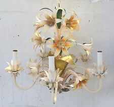 Vintage Lovely French Tole Flowers Chandelier Multi Color Shabby chic