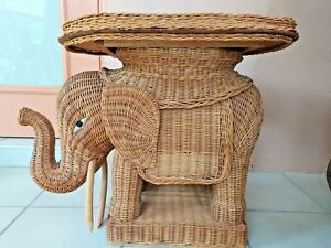 Vintage Wicker Elephant End/Side/Accent Table With Removable Tray, Trunk Up