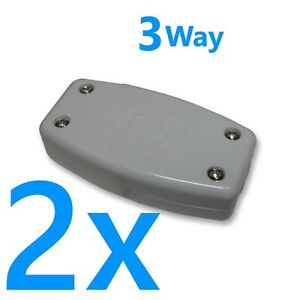 2x 13A In-Line Connector 3 Way Junction Wire Mains Cable Flex Electrical Joiner