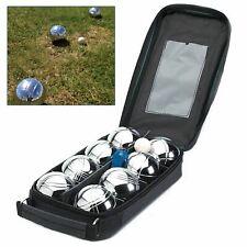 Outdoor Garden 8 Balls Steel French Boules 1 Jack Set PETANQUE Beach Park Game