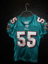 #55 JUNIOR SEAU MIAMI DOLPHINS GAME USED TEAL AUTHENTIC JERSEY SIZE-46 YEAR-2004