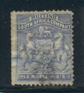 RHODESIA 6 SG2 Used 1892-93 6p ultra Coat of Arms Cat$28
