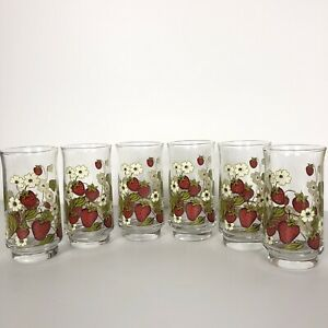 6 Vintage Anchor Hocking Strawberry Triguba Glass Tumblers Drinking Glass
