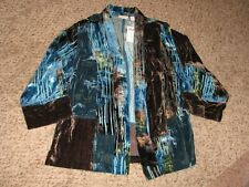 New With Tags Chicos Wmn Sz 3 Watercolor Burnout Velvet Open Front Jacket