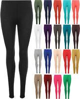 New Womens Plain Basic Full Length Long Ankle Ladies Stretch Leggings Pants 8-14