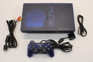 Sony PS2 Fat Ocean Blue Console AC AV Cont Bundle Japan Import US Seller 2PC95