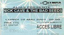 ticket billet used stub place concert NICK CAVE 2001 PARIS