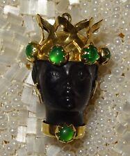 Antique Vintage 18K Gold and Emerald Blackamoor Pendant