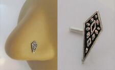 Sterling Silver Nose Stud Pin Ring Bent L Shape Marcasite Sword 20 gauge 20g