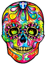 20   water slide nail decals Diy manicure Sugar skulls Super colorful   3/8 inch
