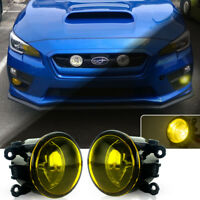 2pc Golden Yellow Lens Front Fog Lamp w/Halogen Bulbs for 2015-up Subaru WRX/STi