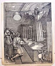 Durer Society 1513 Christ on cross at alter old laid paper original woodblock