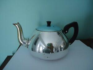 vintage retro anodised aluminium teapot towerbrite england silver blue
