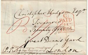 1835 BLUE FRAMED BARMOUTH PENNY POST WRAPPER TO CHR HODGSON BOUNTY OFFICE LONDON