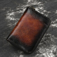 Genuine Leather Men Short Wallet Credit ID Card Holder Mini Cash Clip Coin Purse