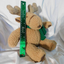 """12"""" Seated Pier 1 One Imports Moose Plush Green Scarf Christmas Holiday Decor"""