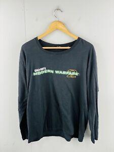 Call of Duty Modern Warfare 2 Men's Vintage Long Sleeve T Shirt Size L Black
